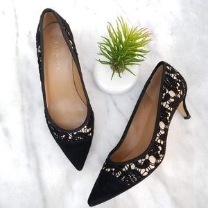 Talbots Kitten Heel Pumps Black Lace Suede Pointed